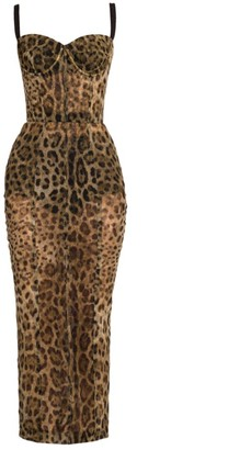Dolce & Gabbana Leopard-Print Tulle Pencil Midi Dress