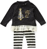 Rare Editions Baby Girls Newborn-24 Months Christmas Tree Top & Striped Leggings Set
