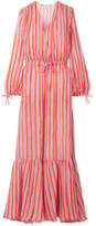 Mira Mikati Love More Striped Chiffon Maxi Dress - Pink