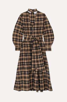 Ganni Belted Checked Seersucker Midi Dress - Beige
