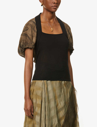 Bell-sleeve silk and cashmere-blend top