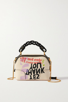 Chloé Corita Kent Daria Mini Printed Textured And Smooth Leather Shoulder Bag - Pink