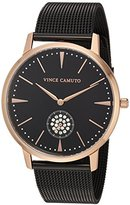 Vince Camuto Women's VC/5315RGBK Swarovski Crystal Accented Rose Gold-Tone and Black Mesh Bracelet Watch