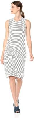 Monrow Women's Supersoft Pinstripe Dress W/Elastic Detail