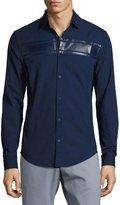 Original Penguin Long-Sleeve Stripe-Detail Woven Shirt, Blue