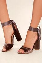 Steve Madden Clary-V Taupe Velvet Lace-Up Heels
