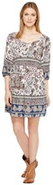 Roper 1130 Blue/Grey Border Print Rayon Dress Women's Dress