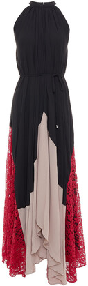 Saloni Iris Color-block Corded Lace And Crepe Maxi Dress
