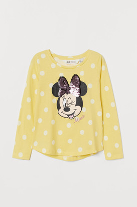 H&M Appliqued Jersey Top - Yellow