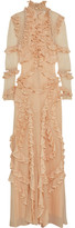 Alexander McQueen Ruffled Pointelle-knit Silk Gown - Peach