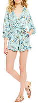 Copper Key Floral-Print V-Neck Faux-Wrap Side-Pocket Romper