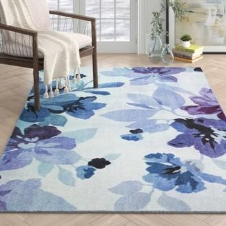 Red Barrel Studio Fedna Floral Purple/Azure/Cream Area Rug Rug Size: Rectangle 5' x 8'