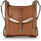 Roberto Cavalli Horn Walnut Leather Shoulder Bag