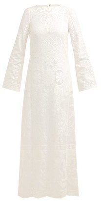 Dolce & Gabbana Cherub And Floral-lace Cotton-blend Maxi Dress - Womens - White