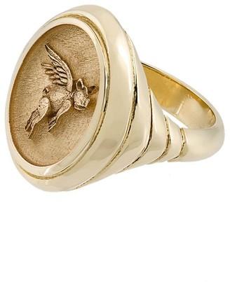 Retrouvaí 14kt Gold Flying Pig Signet Ring