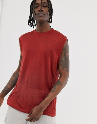 ASOS loose fit sleeveless t-shirt in dark red drapey fabric