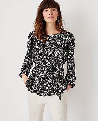 Ann Taylor Floral Mixed Media Tie Waist Top