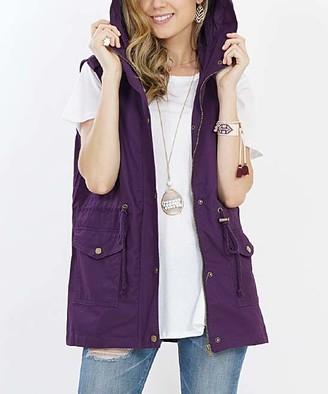 Lydiane Women's Outerwear Vests DK.PURPLE - Dark Purple Hooded Military Pocket Vest - Women