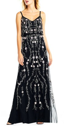 Adrianna Papell Mesh Blouson Gown