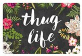 Hi,Doormat Thug Life Flowers Doormat Entrance Mat Rug indoor /Outdoor/Front Door/Bathroom Mats Rubber Non slip 23.6 X 15.7 Inch