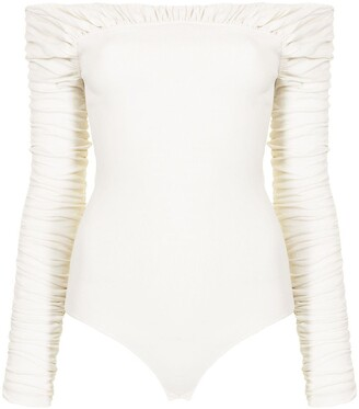 KHAITE Ruched Off-Shoulder Knitted Top