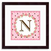"Bed Bath & Beyond Monogram Rose Initial ""N"" Wall Art"