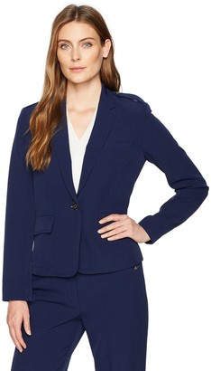 Kasper Women's Stretch Crepe 1 Button Notch Lapel Jacket
