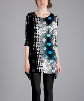 Lily Black & Blue Abstract Scoop Neck Tunic - Plus Too