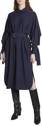 Kenzo Belted Viscose Shirting Midi Dress