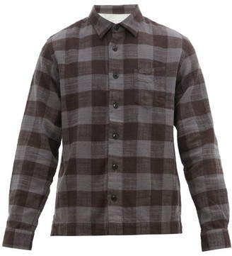 Officine Generale Sol Checked Brushed Cotton Twill Overshirt - Mens - Black Grey