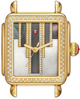 Michele 18mm Deco Skyline Diamond Gold Watch Head, Cocoa Diamond Dial