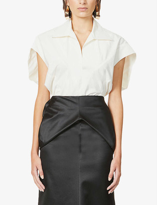 Hyun Mi Nielsen V-neck cotton-poplin shirt
