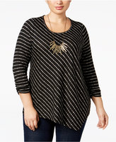 NY Collection Plus Size Striped Asymmetric Top