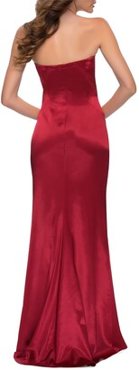 La Femme Strapless Thigh-Slit Satin Gown