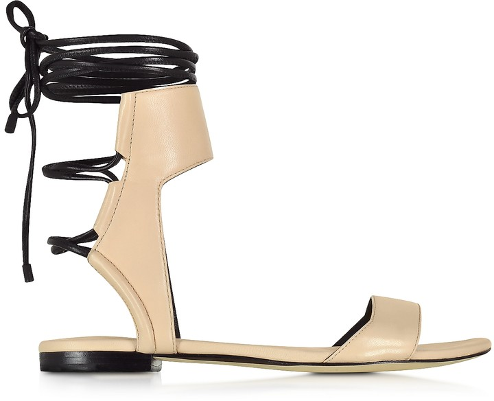 3.1 Phillip Lim Martini Light Peach and Black Leather Ankle Lace Flat Sandal