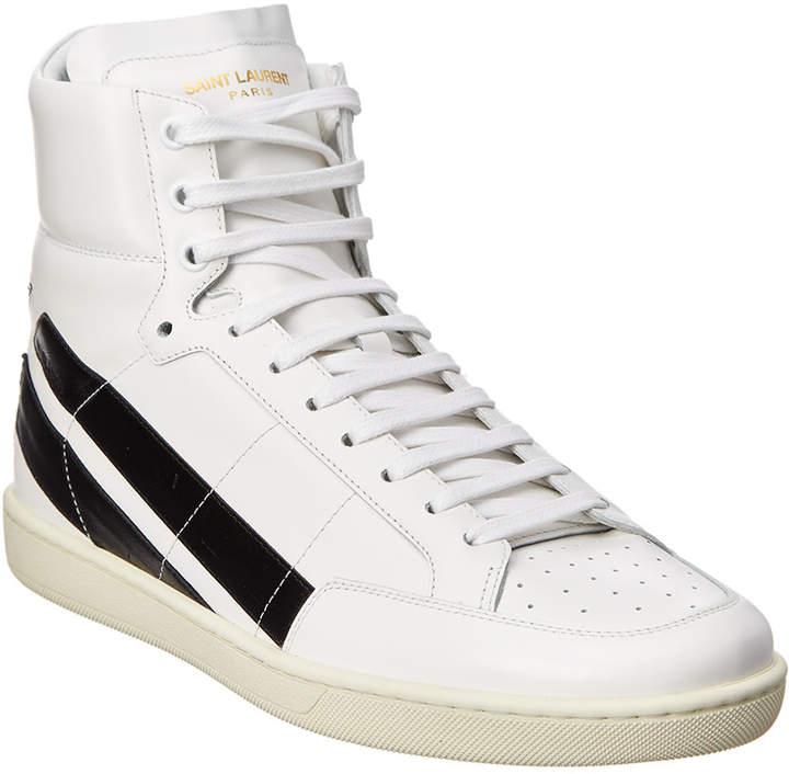 Saint Laurent Signature Court Classic Leather High-Top Sneaker