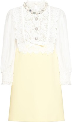 Miu Miu Faille cady organza panelled lace dress