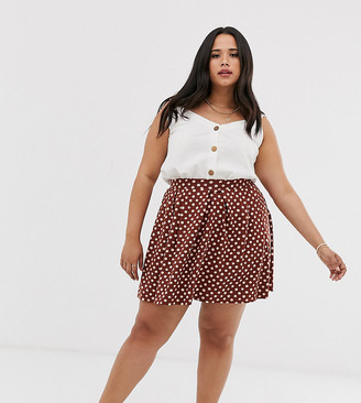 Asos DESIGN Curve mini skirt with box pleats in scribble spot print