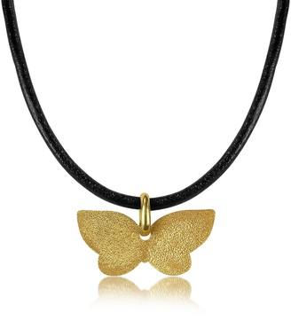 Stefano Patriarchi Golden Silver Etched Butterfly Pendant w/Leather Lace