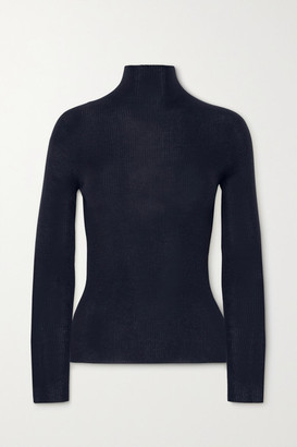 Akris Ribbed Cashmere And Silk-blend Turtleneck Sweater - Navy