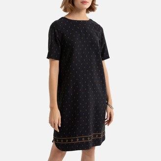 La Redoute Collections Printed Shift Tunic Mini Dress with Short Sleeves