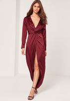 Missguided Satin Plunge Maxi Dress Burgundy