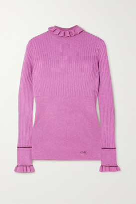 Victoria Victoria Beckham Ruffled Metallic Ribbed-knit Sweater