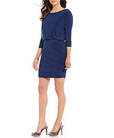 Adrianna Papell Matte Jersey Blouson Banded 3/4 Sleeve Dress