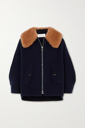 Chloe - Convertible Shearling-trimmed Wool-blend Jacket - Blue