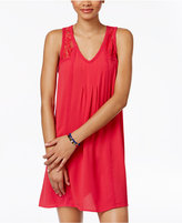 Sequin Hearts Juniors' Lace-Trim Illusion Shift Dress