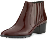Tod's Patent Leather Pull-On Boot, Burgundy