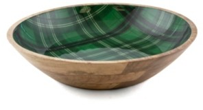 Thirstystone Closeout! 4 Qt Wood & Enamel Bowl with Green Plaid Decal