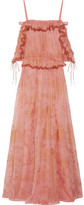 Valentino Off-the-shoulder Ruffled Printed Silk-chiffon Gown - Antique rose