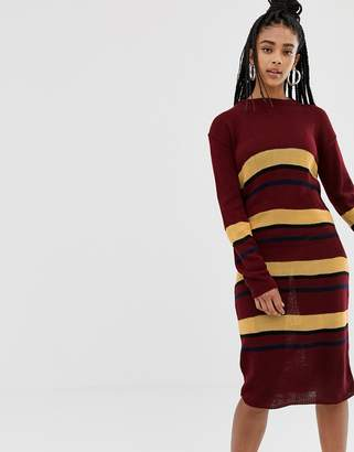Daisy Street midi jumper dress in knitted stripe-Red